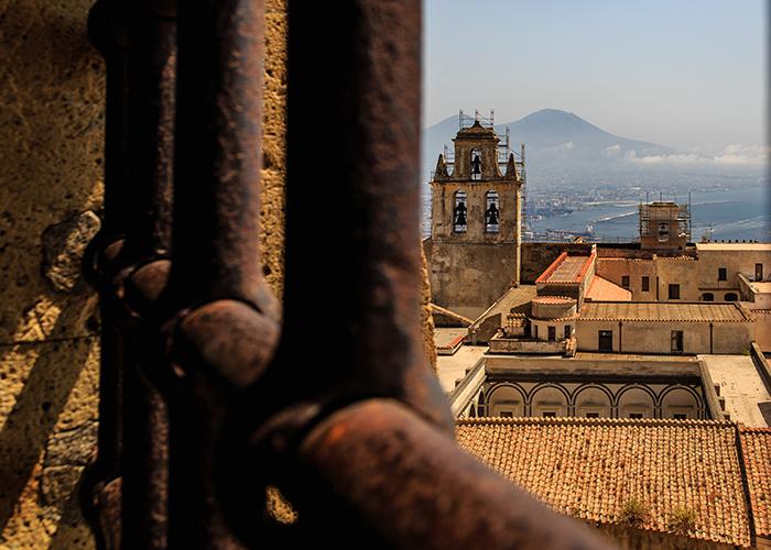 View of the Certosa di San Martino from Castel Sant'Elmo, Vesuvius in background, Napes, Italy